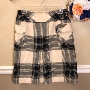 Talbots wool blend A-line plaid skirt